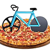ZAWTR Bicicleta Cortador de Pizza, Rueda de Cortador de Pizza de Acero Inoxidable con Revestimiento Antiadherente y Soporte, Pizza Ruedas Cortadora Cocina Herramientas (Azul)