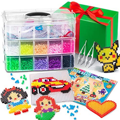 ToyLux Iron Beads for Kids, 18 000 pcs Fuse Bead Kit, 20 Colors 5MM Beads, with Storage Case, Pegboards, Patterns, Tweezers & Ironing Paper for Making DIY Art and Craft