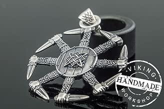 Kolovrat Pendant with Pagan Ornament Sterling Silver Slavic Jewelry