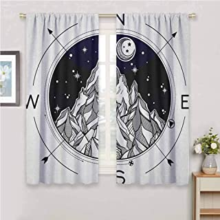 Adventure Curtain Living Room Hand Drawn Mountain Wind Rose Compass Bohemian Style with Night Sky Tattoo Art Window Curtain 2 Panel Black White 55 x 63 inch
