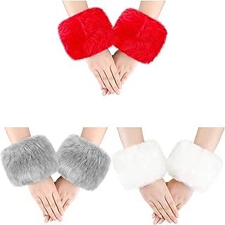 3 Pairs Women Winter Wrist Warmers Faux Fur Cuff Warmers Arm Leg Warmers for Women Costumes Gifts