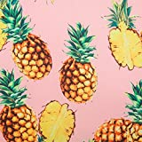 Generic Couture Fashion Fruit Pattern Faux Silk Satin Heavy Chiffon Fabric for Dress 57' Width Pink Color Craft by The Yard (Small Pineapple)