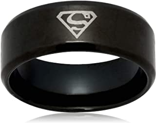 Titanium Steel Individual Superman Style Fashion Cool Black Men Ring for Male US9 mr34-1