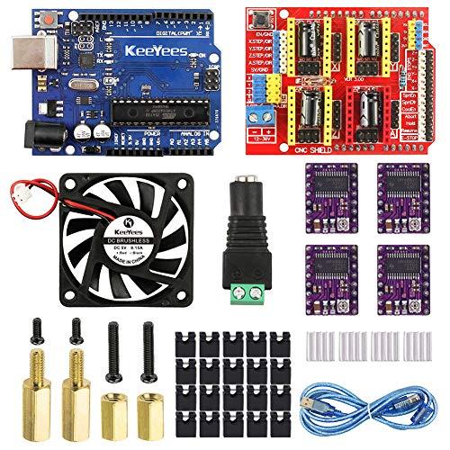 KeeYees Upgrade 3D Drucker CNC Kit mit Lernprogramm - CNC Shield V3 Modul + 5V Brushless Lüfter + DC Adapter Terminalblock + DRV8825 Schrittmotor Treiber Modul für Arduino
