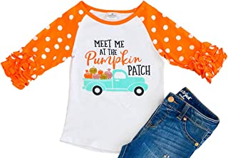 Little Girls Halloween Pumpkin Cotton Party Holiday Raglan Top T-Shirt Tee 2T-8