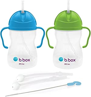 b.box Weighted Sippy Cup Replacement Straws and Cleaner Set, Apple/Blueberry