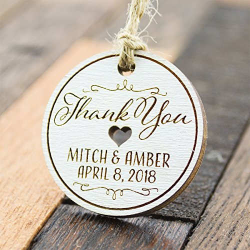Summer-Ray 50 Personalized Mini White Round Wooden Wedding Favor Gift Tags