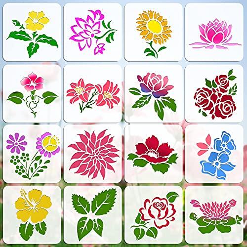 OOTSR 16Pcs Plantillas para Pintar Flores, 15x15cm Plantillas de Dibujos Plantillas de Pintura Reutilizables, Plantillas de Plástico para Manualidades, DIY, Scrapbooking, Muebles, Madera