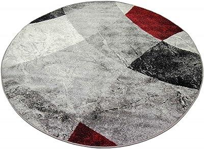 CARPETIA Tapis Abstrait pour Salon Design Moderne avec Losanges ondulés & marbré Gris Rouge - résistant & Durable Größe 200x280 cm