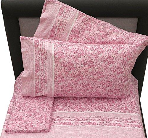 Flanell-Bettlaken Zaira, Rosa, für Doppelbett, Größe 60 (Oberlaken 240 x 290 cm, Spannbetttuch 180 x 200 cm, 2 Kissenbezüge 50 x 80 cm)