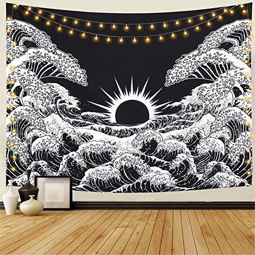 Dremisland Tapiz de Pared Gran Ola Kanagawa Tapiz Mandala Colgar en la Pared Tapicería Tapiz de Pared Blanco y Negro Océano Tapestry Tela Decoración para Sala Estar Dormitorio (L/148X200cm)