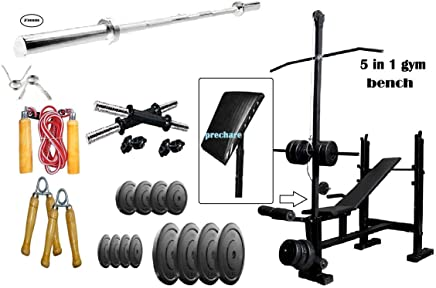 RjKart Home Gym 5 in 1 Bench with 6kg PVC Plates, 5 ft Straight Rod and 1 Pair Dumbbell Rods