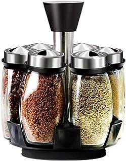SCDZS La Rotation Cruet Condiments Assaisonnement Jars Set for Les épices Poivre Sprays Bouteilles sel Shakers Porte-Cuisi...