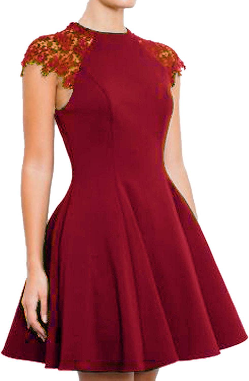 SUNNOW Women's Sleeveless Lace Patchwork A Line Short Mini Casual Dress