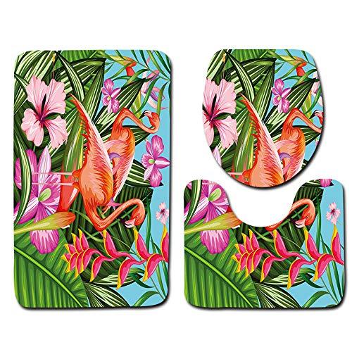 FGHJSF Alfombras de Baño Flamenco Naranja 3 Alfombrillas de Secado rápido, Alfombra de baño de Secado rápido, Alfombra de Pedestal + Tapa de Inodoro + Alfombrilla de baño