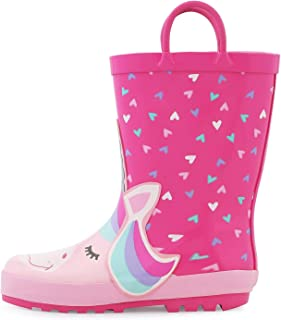 K KomForme Kids Rain Boots, Girl Animal Printed Rubber Boots with Easy on Handles