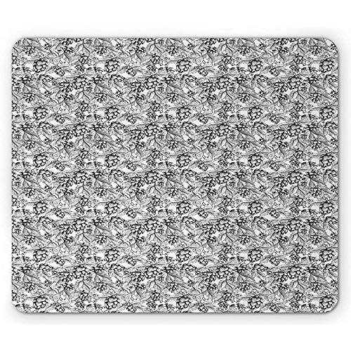 Weinlese-Botanik-Blick von einfarbigen Bier-Hopfen-Kegeln und Blättern auf Niederlassungen, rutschfeste Gummimousepad, 25x30cm Holzkohle-graues Weiß