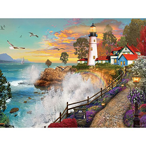 Bits and Pieces - 1000 Piece Jigsaw Puzzle for Adults - Lighthouse Park - 1000 pc Sunset by The Ocean Jigsaw by Artist David Maclean