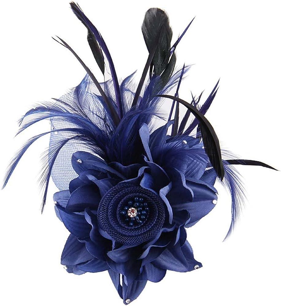 Fascinator Hat for Women Flower Mesh Feathers Hair Clip Tea Party Wedding Cocktail Kentucky Derby 20s Flapper Headpiece