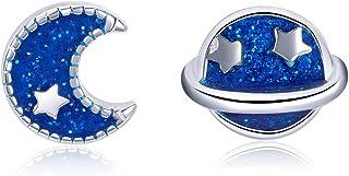 GDDX Stella d'Oro Luna Blu Borchie a forbice Orecchini carini asimmetrici in argento sterling per donne ragazze