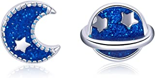 Moon Star Enamel Stud Earrings 925 Sterling Silver, Cute Small Planet Earrings Hypoallergenic Stud Earrings for Women And Girls,Thanksgiving Day Christmas Day Gifts.