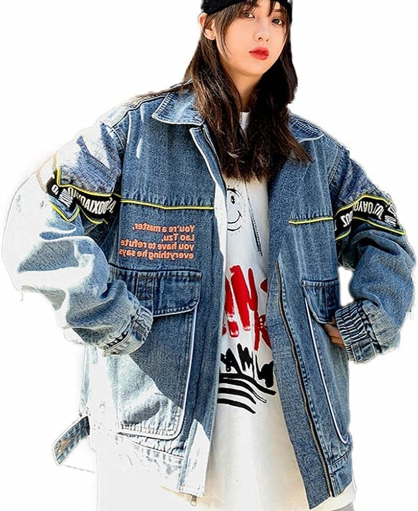 Student Jacket Letter Print Denim Jacket Spring and Autumn Trend Clothing Loose Trend Couple Tops