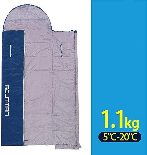 JZX Sac de couchage en coton Camping Garder au chaud Hiver Voyage épaissir Anti Sale Adulte Double Amoureux Couture Marine Bleu Moustiquaire,1,1 kg
