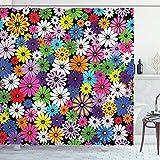 ABAKUHAUS Flor Cortina de Baño, Margaritas Vivo Floral, Material Resistente al Agua Durable Estampa Digital, 175 x 200 cm, Multicolor