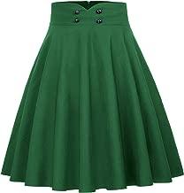 Belle Poque Women's High Waist A-Line Pockets Skirt Flared Button Midi Skirt