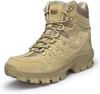 jin Bottines de Combat Militaires Chaussures de Sport pour Hommes Bottes de Travail en Plein air,Beige-46