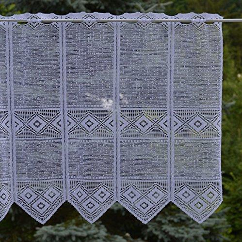 Gustav Gerster Scheibengardine - Anfertigung nach Maß - Jacquard- Panneaux Bistrogardine Kurzstore - Höhe 60 cm - Breite der Gardine durch Stückzahl in 15 cm Schritten wählbar weiß
