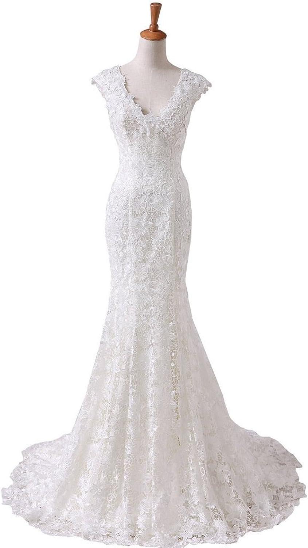 BessWedding Cap Sleeves Lace Bridal Dresses Mermaid Wedding Dresses Brush Train