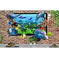 写真壁紙3d効果パノラマ壁画イルカリビングルーム子供寝室家の装飾壁ポスター-不織布_300x216cm-6パーツ