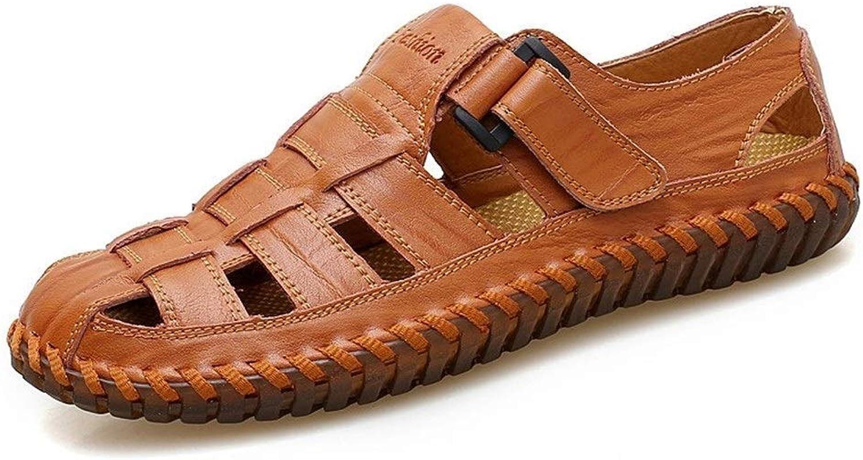 WY1886-schuhe Mnner handgemachte Ledersandalen Gre 38-47 atmungsaktiv lssig Mann zu Fu Sommerschuhe Bequeme Schuhe (Farbe   rot braun, schuhe Größe   44)