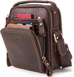 Hiram Genuine vegetables leather men shoulder bag for ipad mini 7.9inch Multi-pocket high quality Messenger bag male handbag