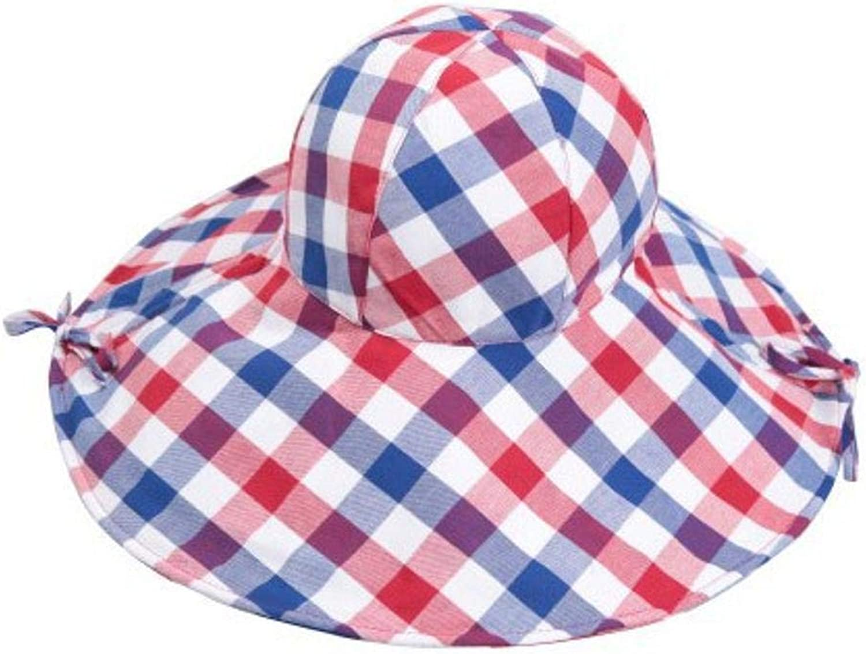 Yunfeng Hats for Ladies,Ladies Sunscreen Sun Cap Folding Beach Cap Large Along Cloth hat Plaid Visor