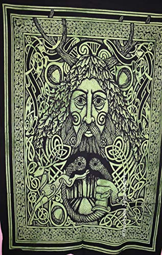 Traditional Jaipur Tie Dye Celtic Greenman Face Wall Art Poster, Celtic Wall Decor, Bohemian Wall Hanging, Hippie Dorm Room Decoration, Gypsy Wall Art, Size 30'x40', Good Luck Poster