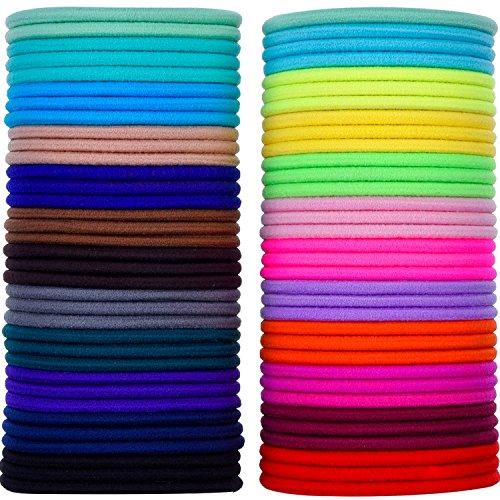 Nichtmetall Elastisch Haargummis Zopfband, 3mm, Mehrfarbig, 69 Stück