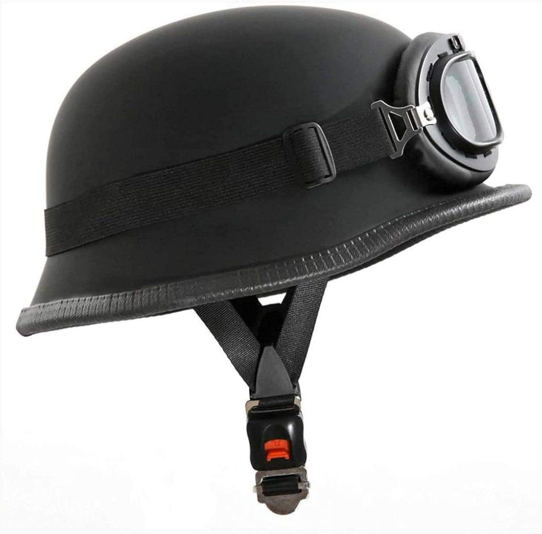 55-56cm Motorradhelm Im Wehrmacht Style Mit Brille Gr/ö/ße,MatteBlack-S