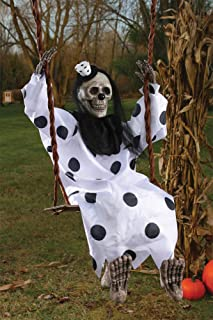 Scary Skeleton Clown on Swing Horror Theme Party Halloween Prop