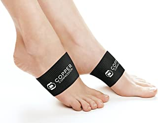 Copper Compression Copper Arch Support - 2 Plantar Fasciitis Braces/Sleeves. Guaranteed Highest Copper Content. Foot Care, Heel Spurs, Feet Pain, Flat Arches (1 Pair Black - One Size Fits All)