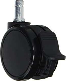AKRacing ゲーミングチェア用 ストッパー付き双輪キャスター PU(ポリウレタン)製 ブラック 5個セット