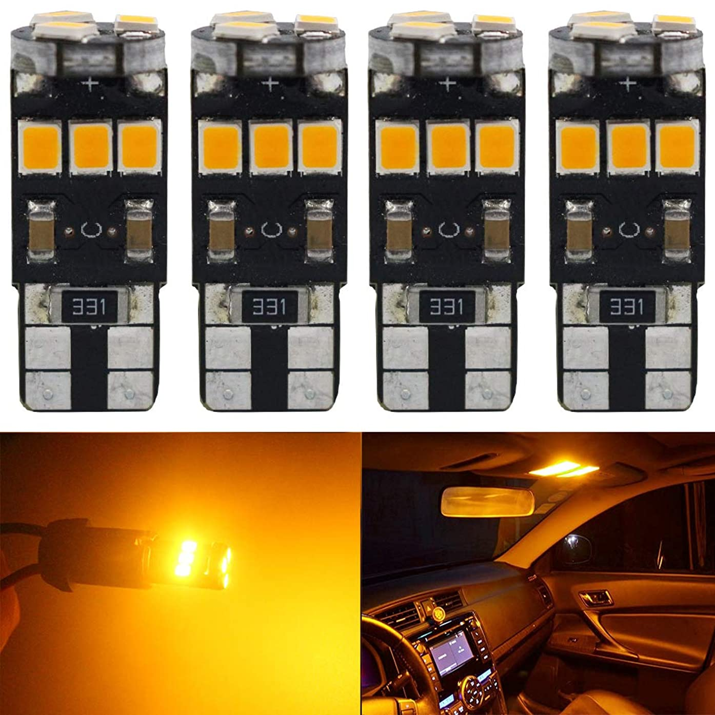 4-Pack T10 194 168 921 Amber/Yellow Extremely Bright Canbus Error Free LED Light 12V,9-SMD 2835 Chipsets Car Replacement Bulb For W5W 168 2825 Map Dome Courtesy License Plate Side Marker Light