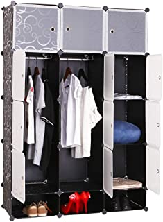 DIY 15 Cube Storage Cabinet Wardrobe Shoes Rack Cupboard Shelf (Black)