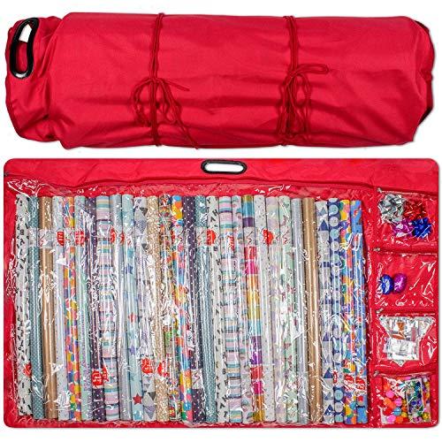 Inpakpapier Opbergtas Container - Kerstmis Verjaardag Inpakpapier Organizer. Houdt 30 inch Rolls. Onder het bed of opknoping inpakpapier opslagcontainers voor strikken en linten Organizer