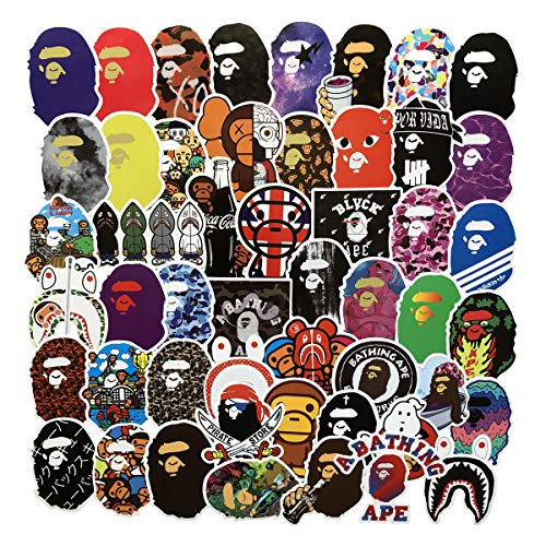 Popular Logo Stickers Bape Brand Stickers Laptop Water Bottles Bedroom Wardrobe Car Skateboard Motorcycle Bicycle Mobile Phone Luggage Guitar DIY Decal (Bape 50)