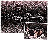 Allenjoy 7x5ft Happy Birthday Party Backdrop Black and Rose Gold Pink Bokeh Sequin Spots Photography Background Sparkle Shinning Dots Bday Banner for Kids Adult Cake Table Decorations Photo Booth