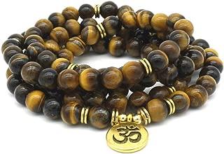 8mm Natural Tiger Eye Stone Tibetan Buddhist Meditation Bracelet 108 Prayer Beads Mala Bracelet Yoga Reiki Diffuser Gemstone Bracelet Unisex