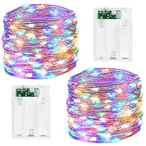 Led Fairy String Lights, 2 Pack 50 LED Silver Wire Fairy String Lights Battery Operated LED Twinkle Waterproof Lights for Bedroom, Christmas, Party, Wedding Outdoor Indoor Decor(Multicolor)