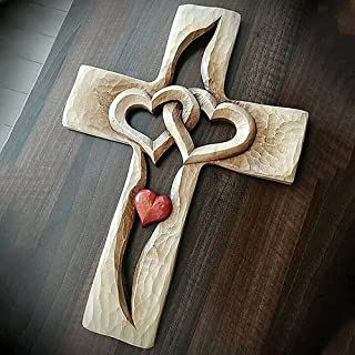 Hengyuan Croix sculptée Coeurs entrelacés, tenture Murale Croix en Bois sculpté à la Main, Deux Coeurs Joints, pour la déc...